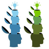 Human heads with lamp — Stock Vector