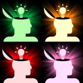 Human heads with lamps — Stock Vector