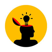 Vector icon of human head with lamp — Stock Vector