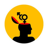 Human head with gender symbols — Stock Vector