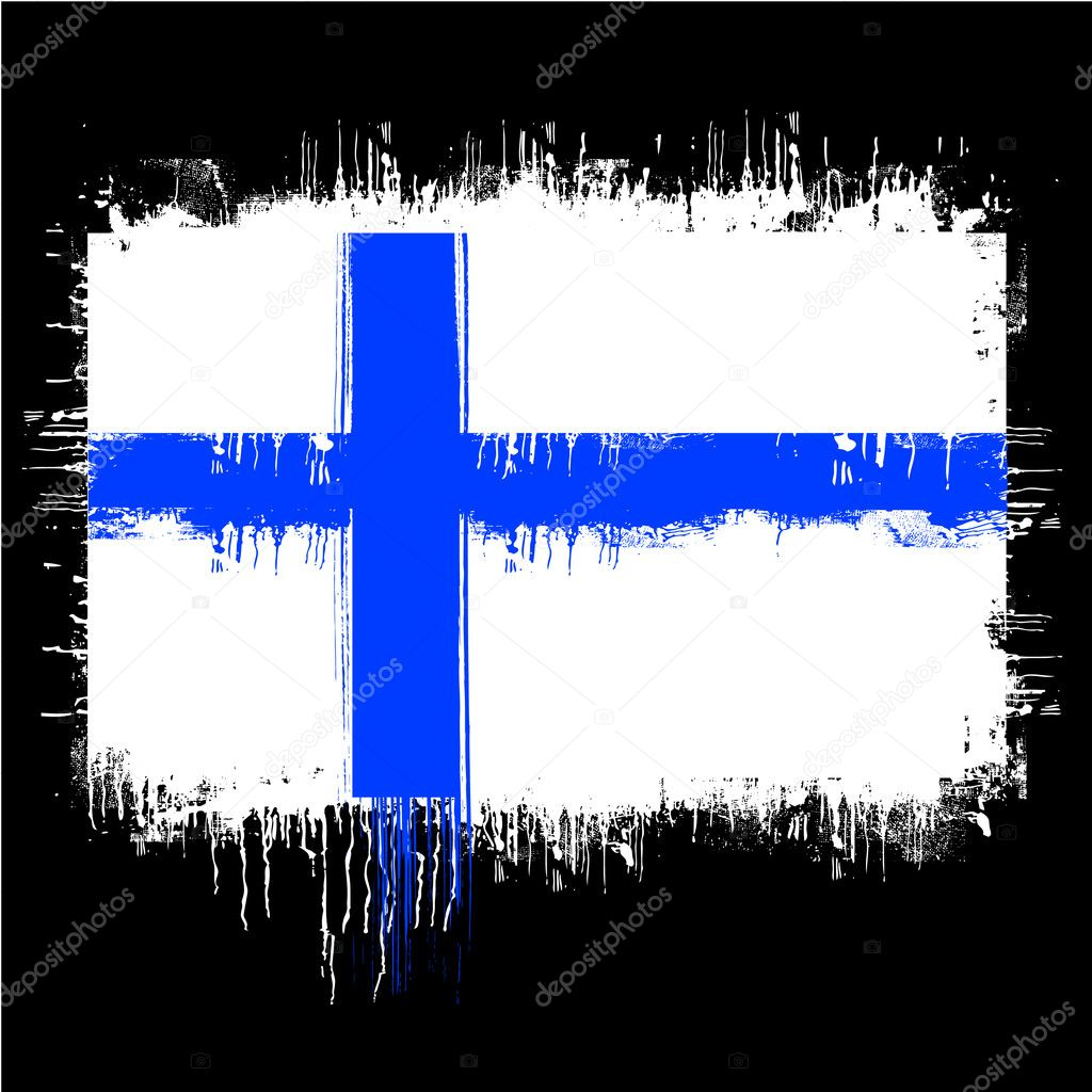 Grunge illustration of flag of finland on black — Stock Vector #5949645