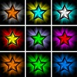 Illustrations of colorful shining stars — Stock Vector