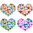 Collections of hearts — Stock Vector
