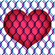 Red heart under chain link fence — Stock Vector
