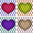 Stock Vector: Hearts under chain link fence