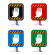 Color stop signs isolated on white — Stock Vector