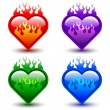Stock Vector: Flaming hearts