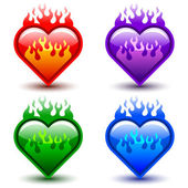 Flaming hearts — Stock Vector