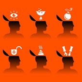 Icons of human head with various objects — Stock Vector