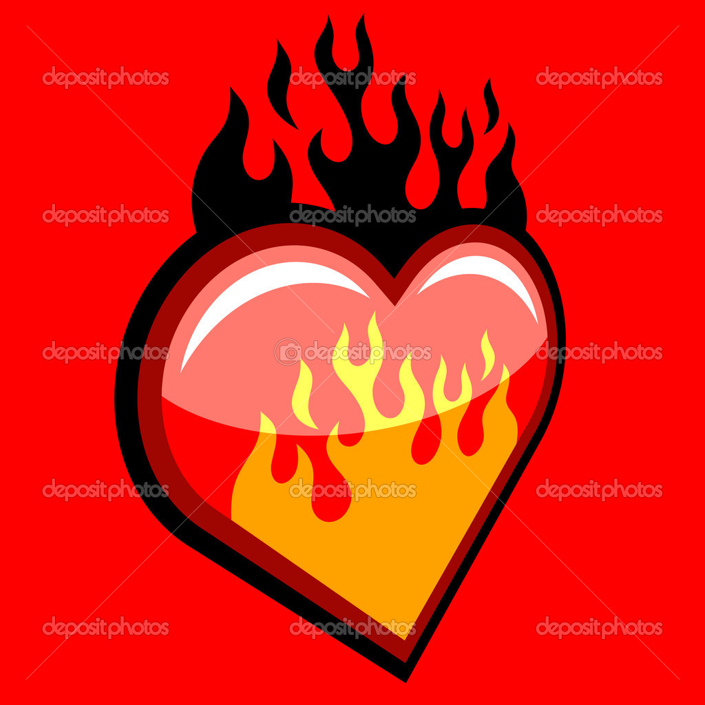 Flaming Heart on red background — Stock Vector #6702042