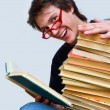Royalty-Free Stock Photo: The student and his textbooks