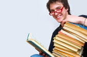学生和他山教科书 — 图库照片
