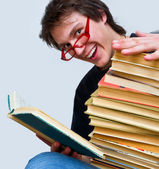 The student and his textbooks — Stock Photo