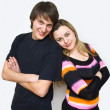 Stock Photo: Happy couple of young adults portrait smiling