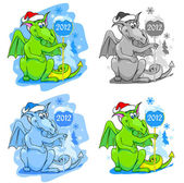 Cute sitting dragon with New Year 2012 — Stock vektor