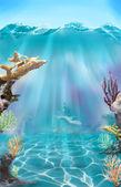 Colorful illustration of the sea bottom. — Stock Photo