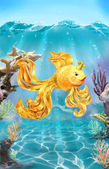 Colorful illustration of goldfish on the sea bottom. — Stock Photo