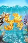 Colorful illustration of goldfish on the sea bottom. — Stock Photo