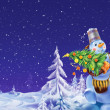 Smiling snowman with a Christmas tree on a winter background - Stock Photo