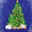 Beautiful Christmas tree with presents and two white rabbits - Stock Photo