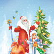 Santa Claus and the Snow Maiden in winter landscape - Stock Photo