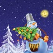 Smiling snowmwith Christmas tree on winter background — Stock Photo #6451081