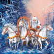 A russian triple of horses with Santa Claus rides the winter forest - Stock Photo