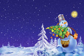 Smiling snowman with a Christmas tree on a winter background — Stockfoto