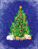 Beautiful Christmas tree with presents and two white rabbits — Stockfoto