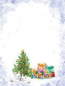 Beautiful Christmas tree with presents and two white rabbits — Stock Photo