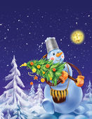 Smiling snowman with a Christmas tree on a winter background — Stock Photo