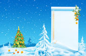 Beautiful Christmas tree on a fairy winter background — Foto de Stock