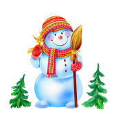 Snowman with a broom and a funny squirrel, isolated on white background — Stock Photo