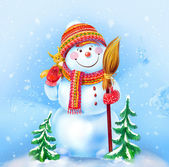Snowman with a broom and a funny squirrel on a winter background — Stockfoto