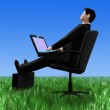 Businessman in a grass — Stock Photo