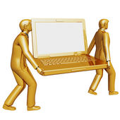 Gold laptop — Stock Photo