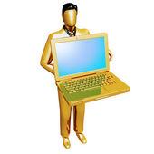 Gouden zakenman bedrijf laptop — Stockfoto