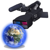 3D dual-lensed camcorder and Earth — Stock Photo