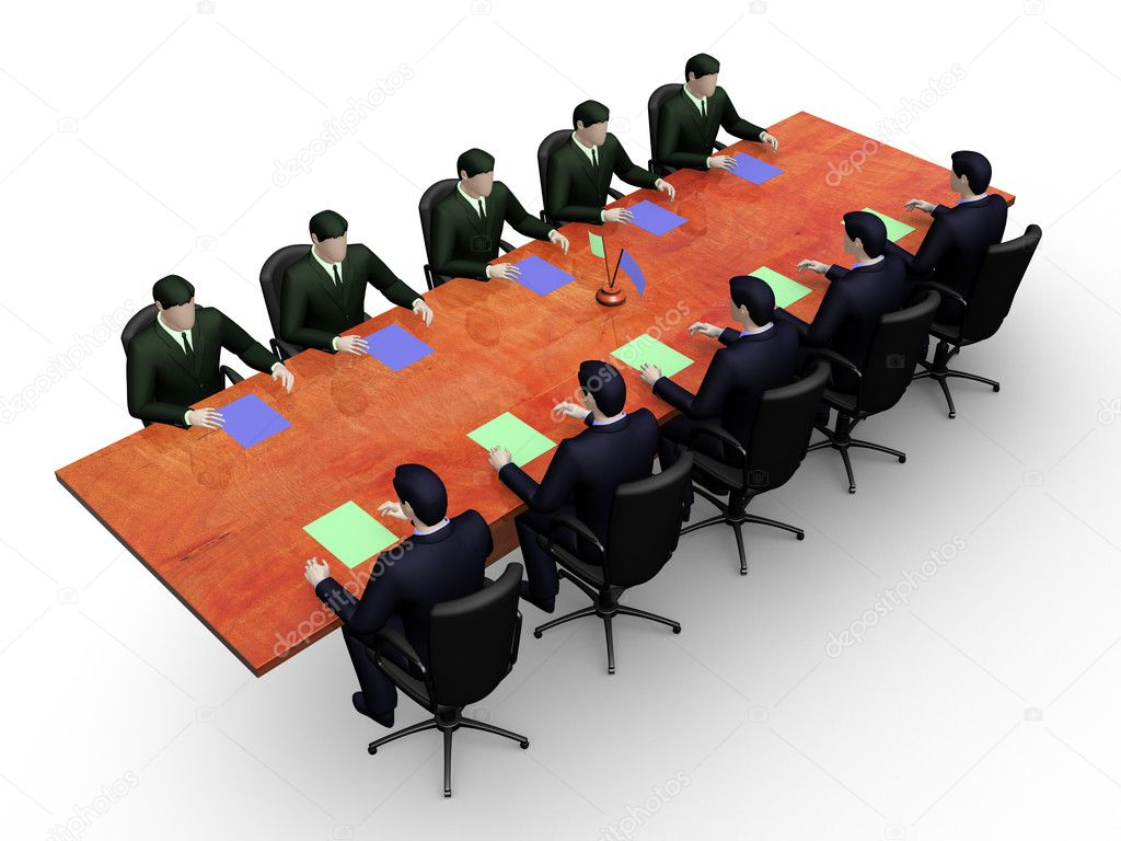 On 3d image two group of businessmans on informal business meeting — Stock Photo #5455897