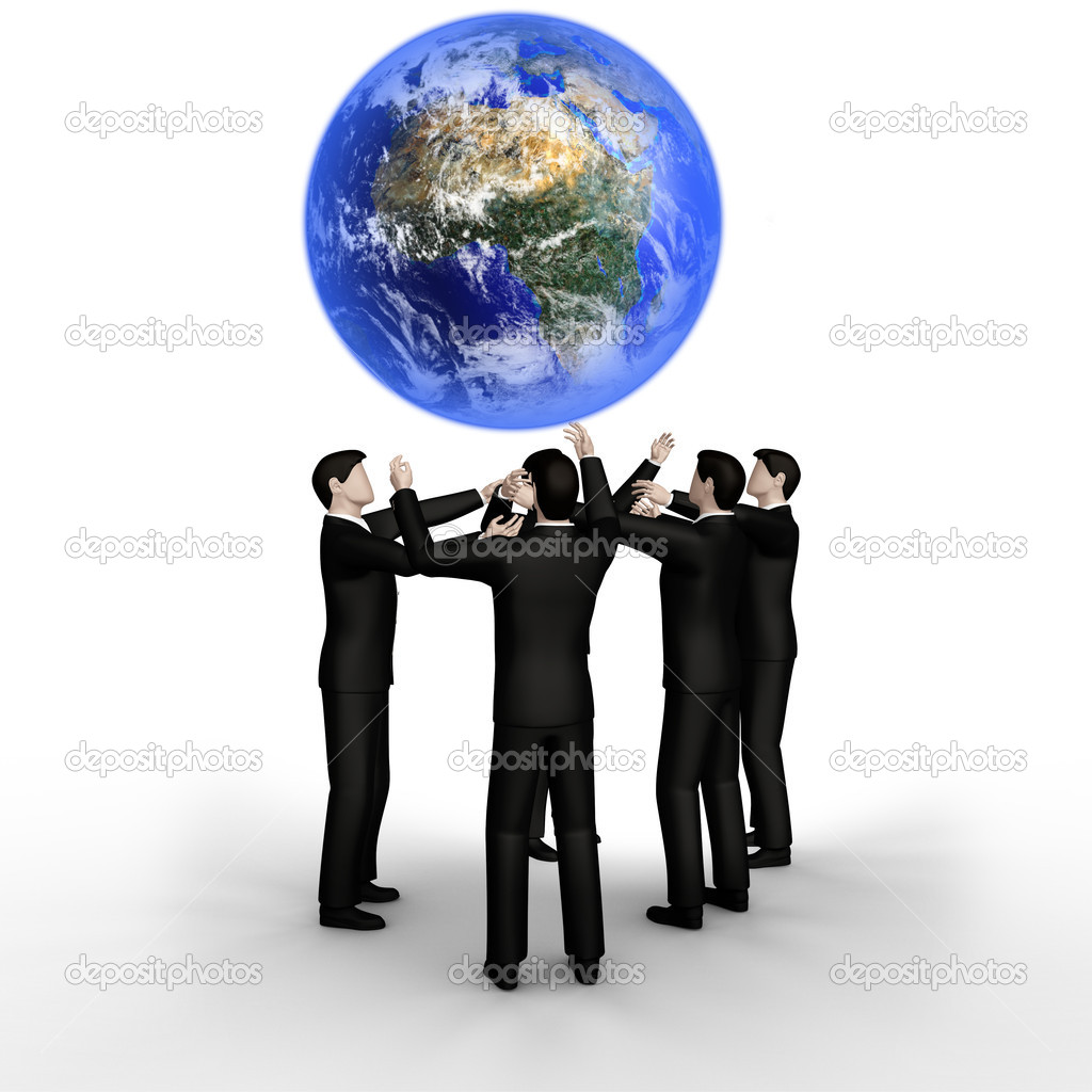 Abstract render of business team and Earth — Stock Photo #5455933
