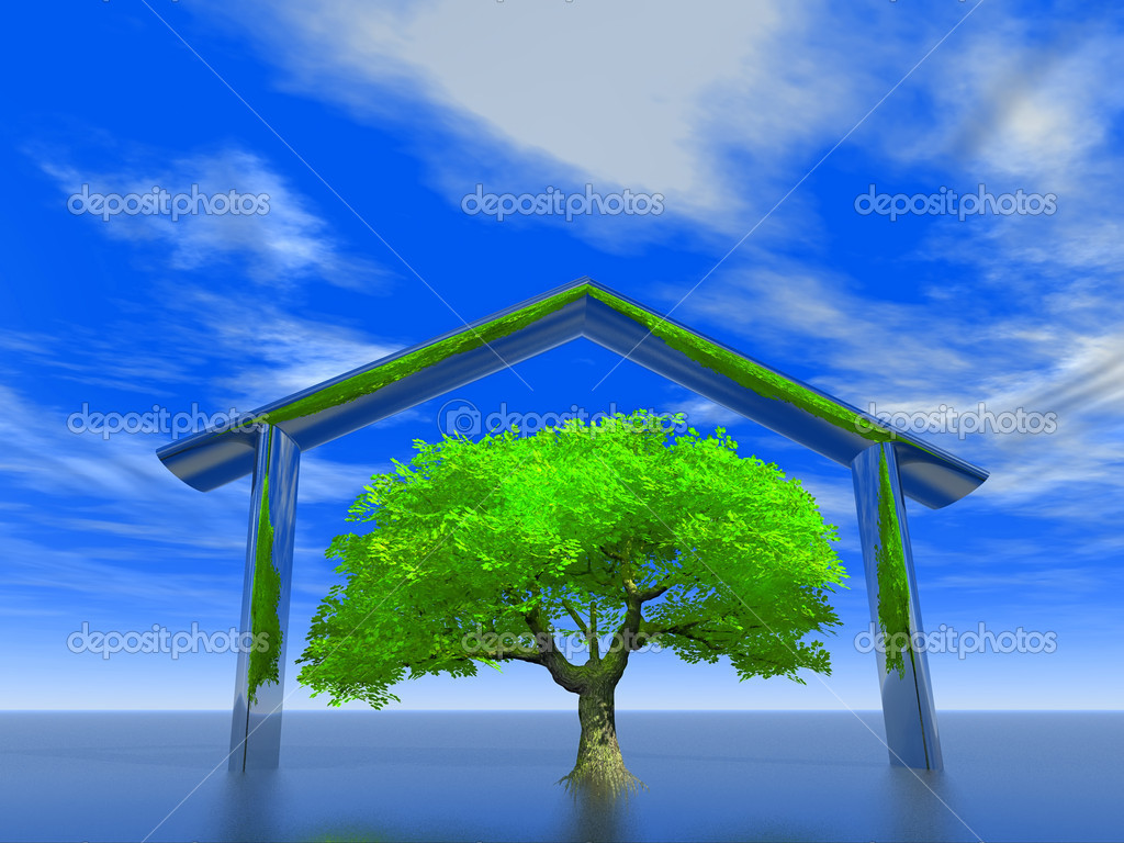 Illustration of an ecological house  Stock Photo #5481465