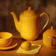 Coffee-pot, cup, sugar-bowl and lemon. - Stock Photo