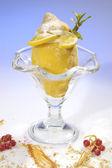 Frozen lemon filled by lemon sorbet — Stock Photo