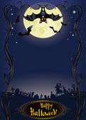 Halloween background with funny bat and graveyard — Stock Vector
