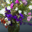 Bouquet of summer fresh wild flowers isolated on black background — Foto Stock