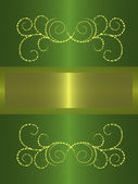 Gold with green vintage banner — Stockfoto
