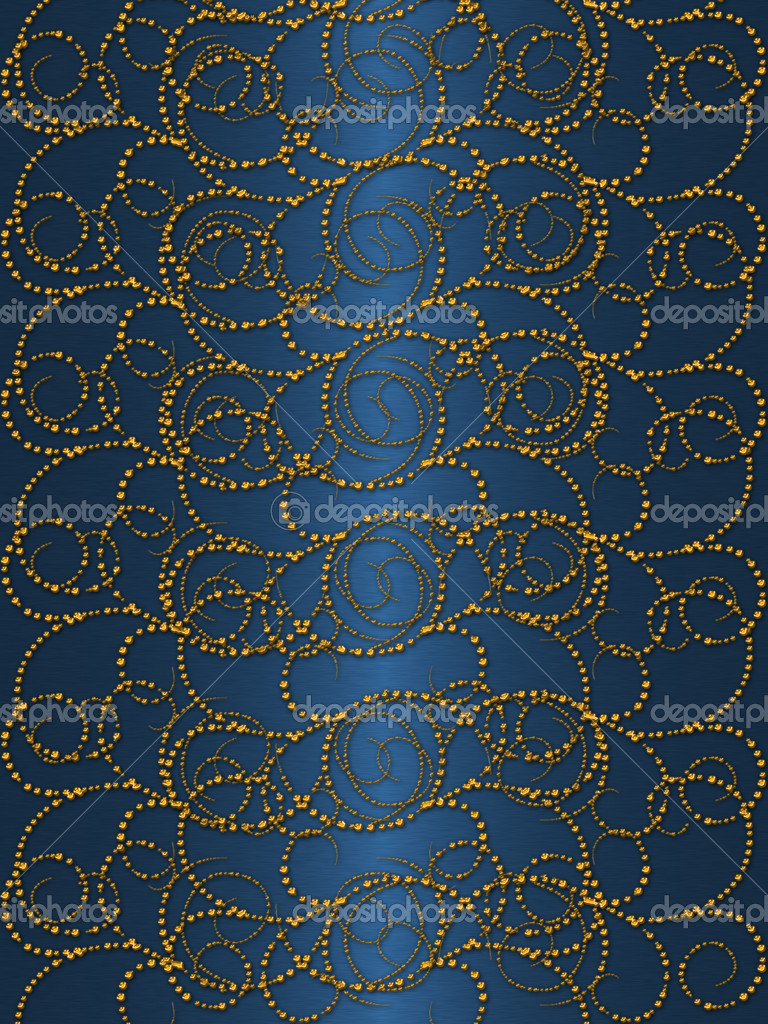 Gold on the blue vintage background — Stock Photo ...