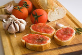 Bread with tomato — Stock Photo