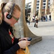 Stock Photo: Beautiful girl whih ear-phones