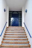 Blue entrance door in Spain. — Stock Photo